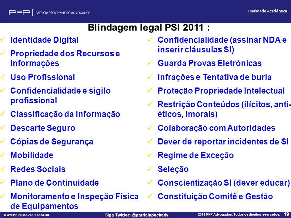 WWW.PPPADVOGADOS.COM.BR 2011 PPP Advogados. Todos os direitos reservados. 19 Siga Twitter: @patriciapeckadv Finalidade Acadêmica Identidade Digital Pr
