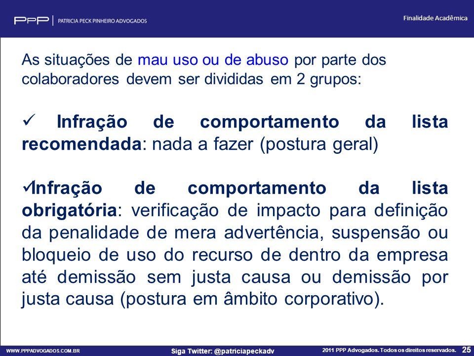 WWW.PPPADVOGADOS.COM.BR 2011 PPP Advogados. Todos os direitos reservados. 25 Siga Twitter: @patriciapeckadv Finalidade Acadêmica As situações de mau u