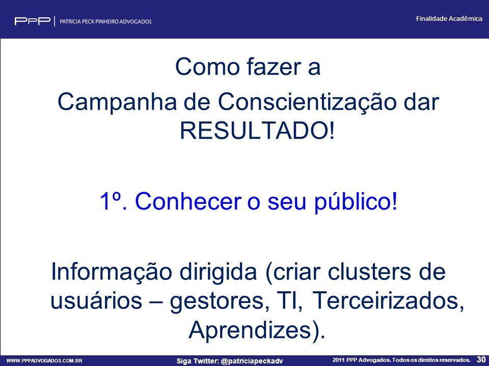 WWW.PPPADVOGADOS.COM.BR 2011 PPP Advogados. Todos os direitos reservados. 30 Siga Twitter: @patriciapeckadv Finalidade Acadêmica Como fazer a Campanha