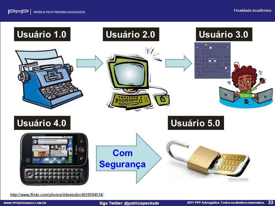 WWW.PPPADVOGADOS.COM.BR 2011 PPP Advogados. Todos os direitos reservados. 33 Siga Twitter: @patriciapeckadv Finalidade Acadêmica http://www.flickr.com