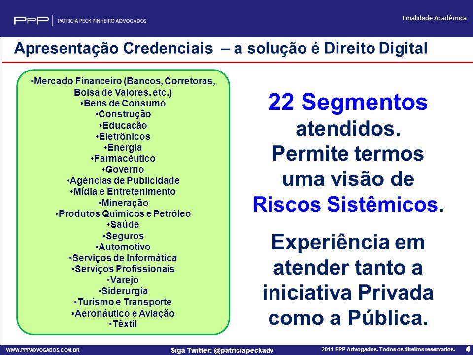 WWW.PPPADVOGADOS.COM.BR 2011 PPP Advogados. Todos os direitos reservados. 4 Siga Twitter: @patriciapeckadv Finalidade Acadêmica 4 Mercado Financeiro (