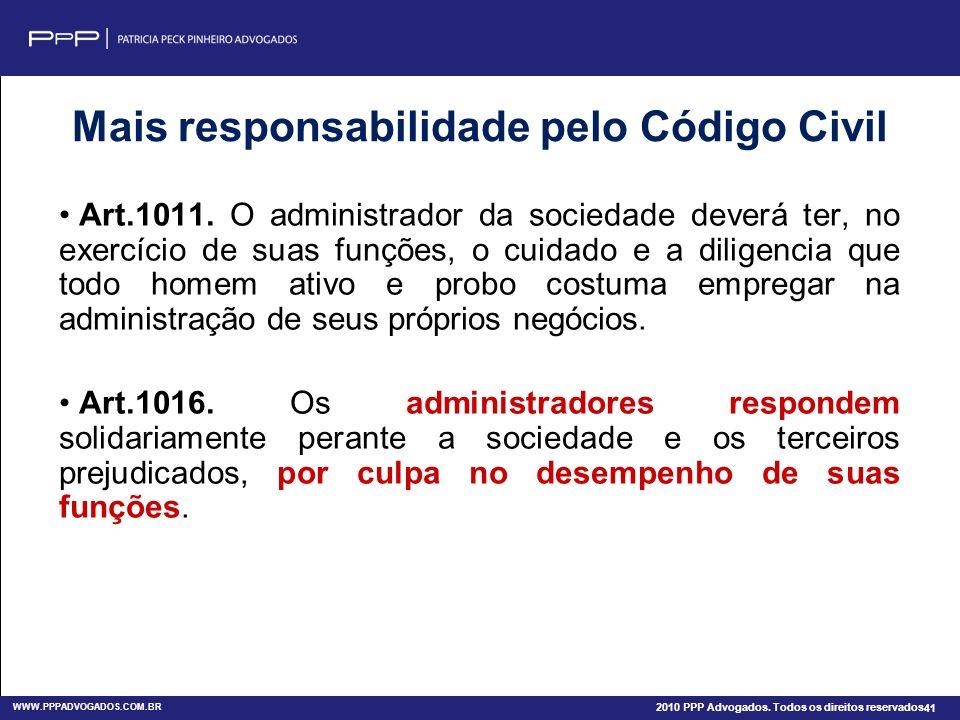 WWW.PPPADVOGADOS.COM.BR 2011 PPP Advogados. Todos os direitos reservados. 41 Siga Twitter: @patriciapeckadv Finalidade Acadêmica 2010 PPP Advogados. T