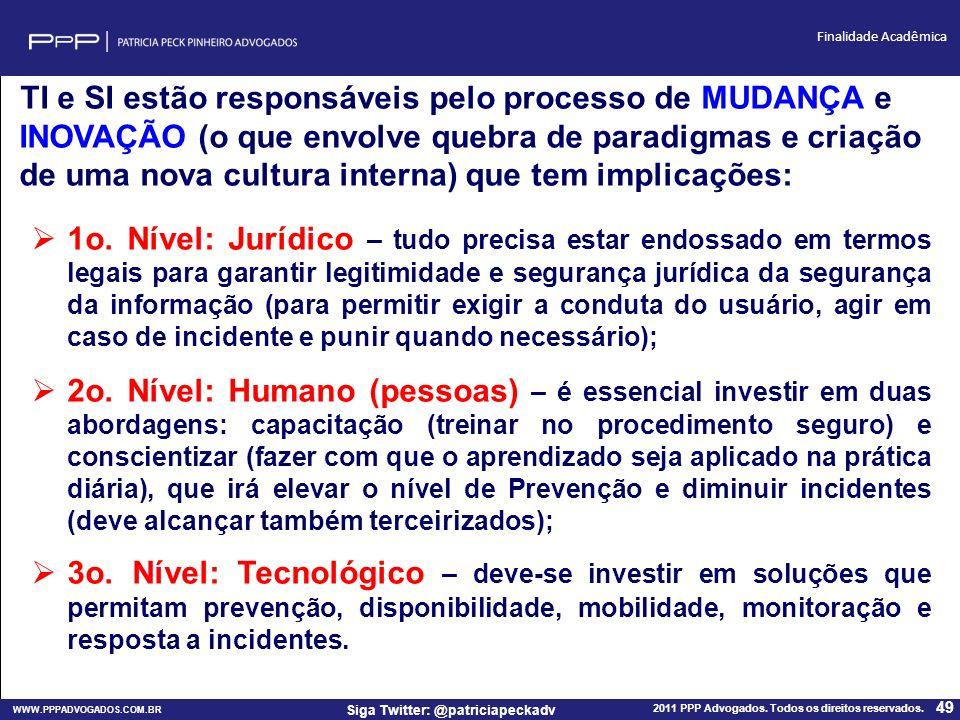 WWW.PPPADVOGADOS.COM.BR 2011 PPP Advogados. Todos os direitos reservados. 49 Siga Twitter: @patriciapeckadv Finalidade Acadêmica TI e SI estão respons