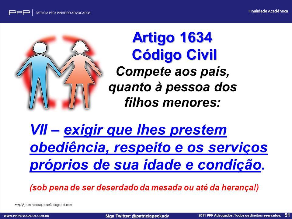 WWW.PPPADVOGADOS.COM.BR 2011 PPP Advogados. Todos os direitos reservados. 51 Siga Twitter: @patriciapeckadv Finalidade Acadêmica VII – exigir que lhes