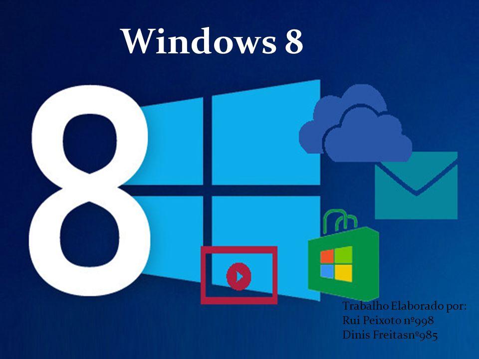 Windows 8 Trabalho Elaborado por: Rui Peixoto nº998 Dinis Freitasnº985