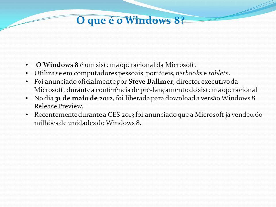 O que é o Windows 8? O Windows 8 é um sistema operacional da Microsoft. Utiliza se em computadores pessoais, portáteis, netbooks e tablets. Foi anunci
