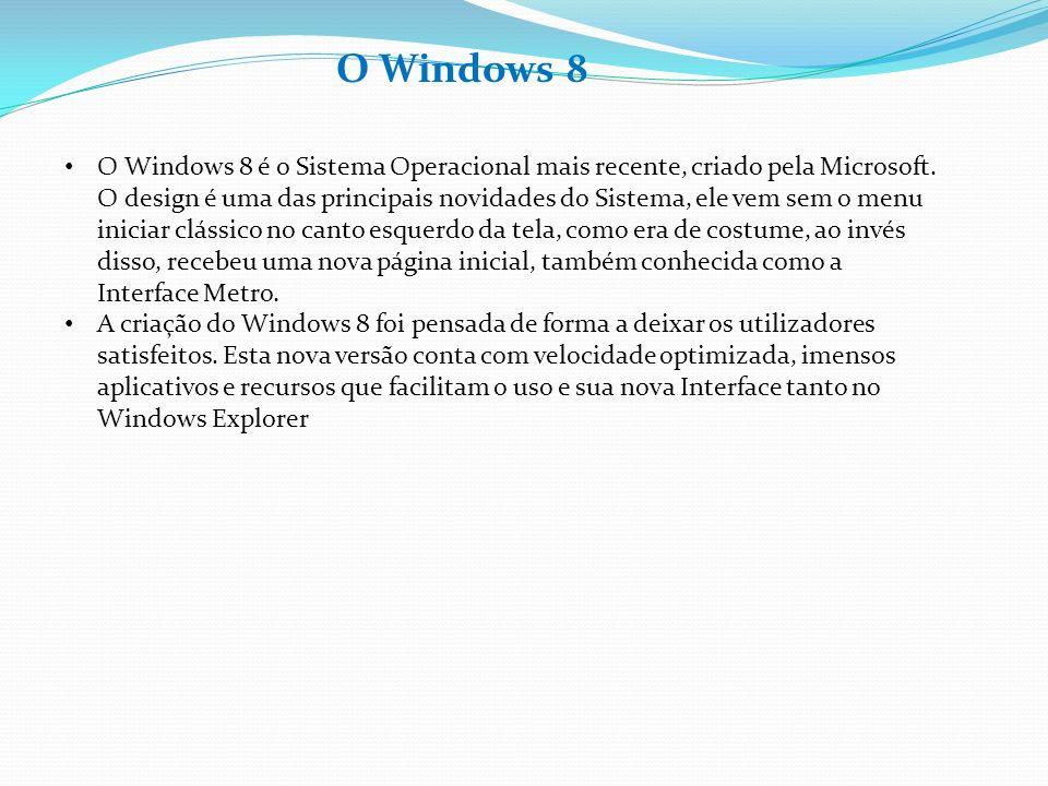 O Windows 8 O Windows 8 é o Sistema Operacional mais recente, criado pela Microsoft. O design é uma das principais novidades do Sistema, ele vem sem o