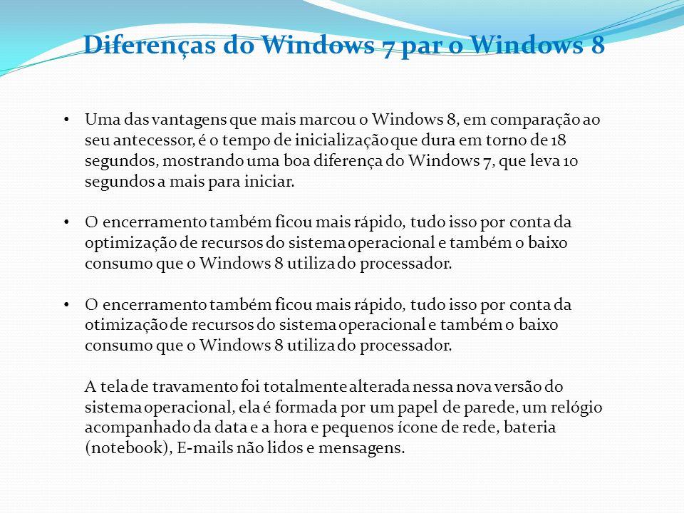Diferenças do Windows 7 par o Windows 8 Uma das vantagens que mais marcou o Windows 8, em comparação ao seu antecessor, é o tempo de inicialização que