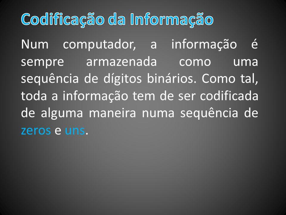 Num computador, a informação é sempre armazenada como uma sequência de dígitos binários. Como tal, toda a informação tem de ser codificada de alguma m