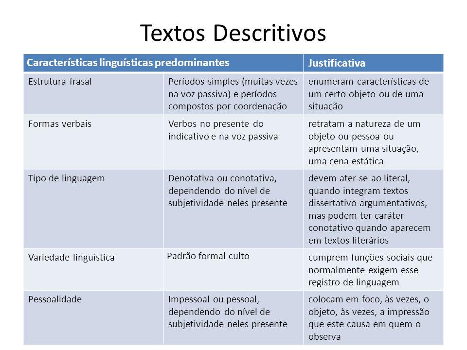 Textos Descritivos Características linguísticas predominantes Justificativa Estrutura frasalPeríodos simples (muitas vezes na voz passiva) e períodos