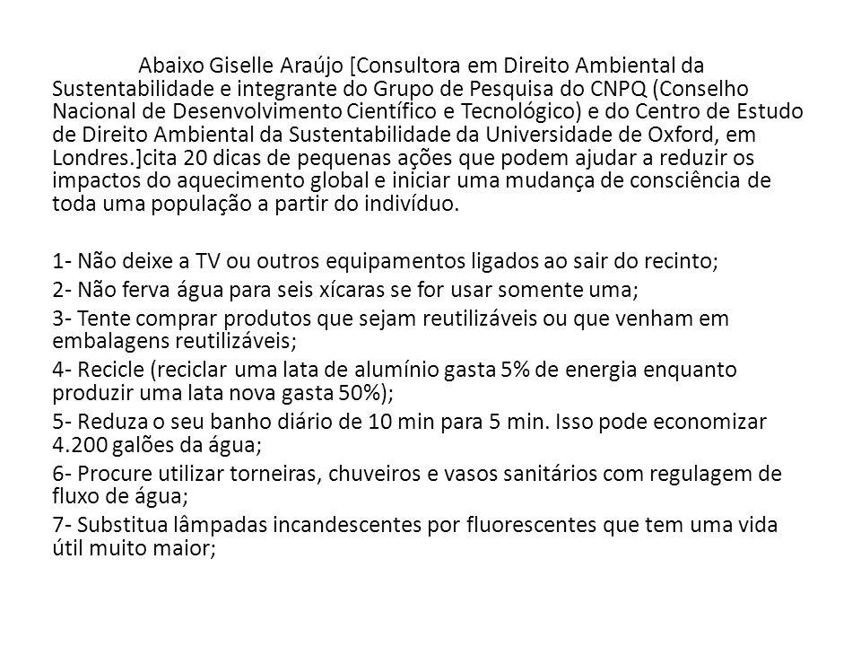 Abaixo Giselle Araújo [Consultora em Direito Ambiental da Sustentabilidade e integrante do Grupo de Pesquisa do CNPQ (Conselho Nacional de Desenvolvim