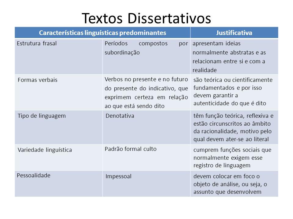 Textos Dissertativos Características linguísticas predominantesJustificativa Estrutura frasal Períodos compostos por subordinação apresentam ideias no