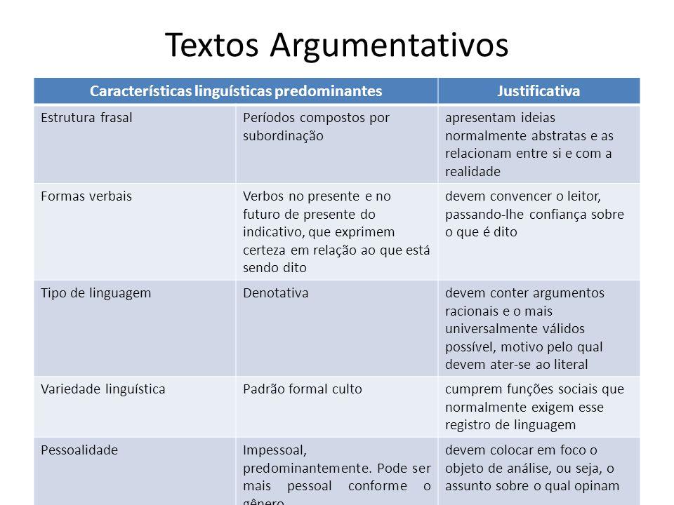 Textos Argumentativos Características linguísticas predominantesJustificativa Estrutura frasalPeríodos compostos por subordinação apresentam ideias no