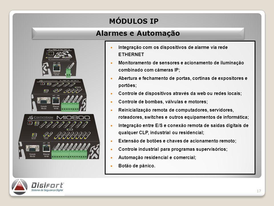 17 Integração com os dispositivos de alarme via rede ETHERNET Monitoramento de sensores e acionamento de iluminação combinado com câmeras IP; Abertura