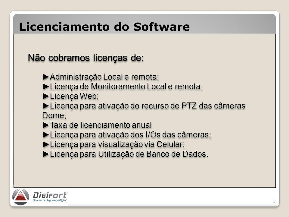 Licenciamento por Servidor, câmeras e dispositivos de alarme. Licenciamento do Software 5 Não cobramos licenças de: Administração Local e remota; Lice