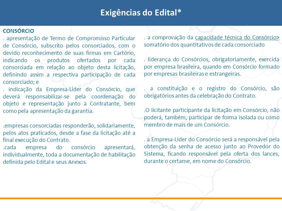 Exigências do Edital* CONSÓRCIO. apresentação de Termo de Compromisso Particular de Consórcio, subscrito pelos consorciados, com o devido reconhecimen