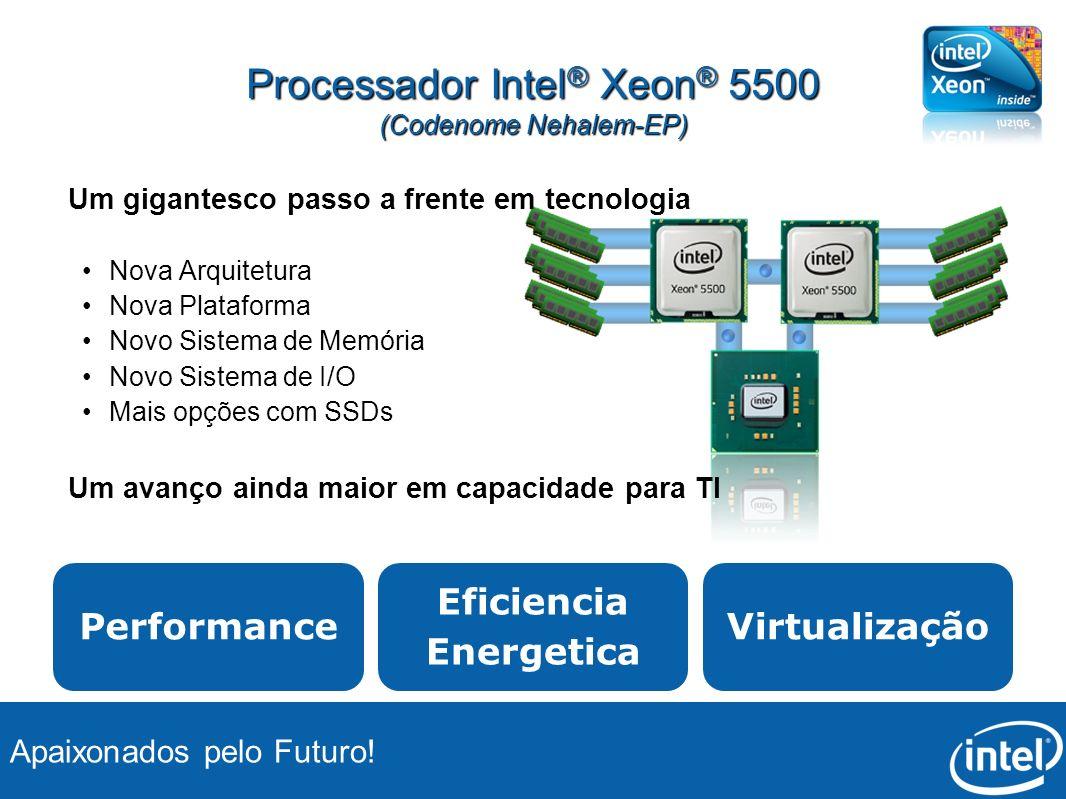 Apaixonados pelo Futuro! Processador Intel ® Xeon ® 5500 (Codenome Nehalem-EP) Um gigantesco passo a frente em tecnologia Nova Arquitetura Nova Plataf