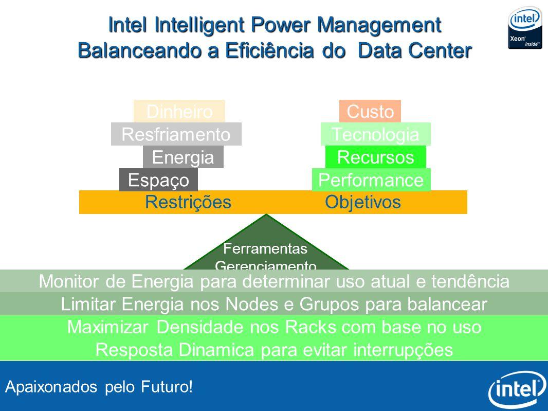 Apaixonados pelo Futuro! Intel Intelligent Power Management Balanceando a Eficiência do Data Center Restrições Objetivos Resfriamento Energia Espaço D