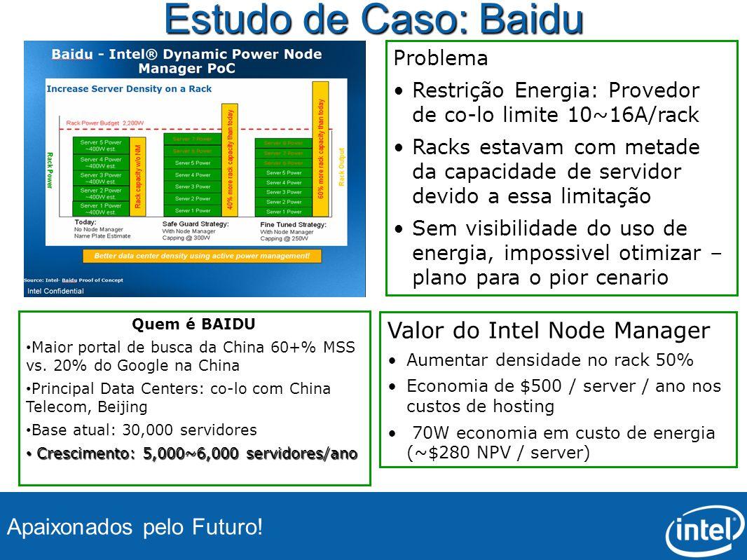 Apaixonados pelo Futuro! Estudo de Caso: Baidu Valor do Intel Node Manager Aumentar densidade no rack 50% Economia de $500 / server / ano nos custos d
