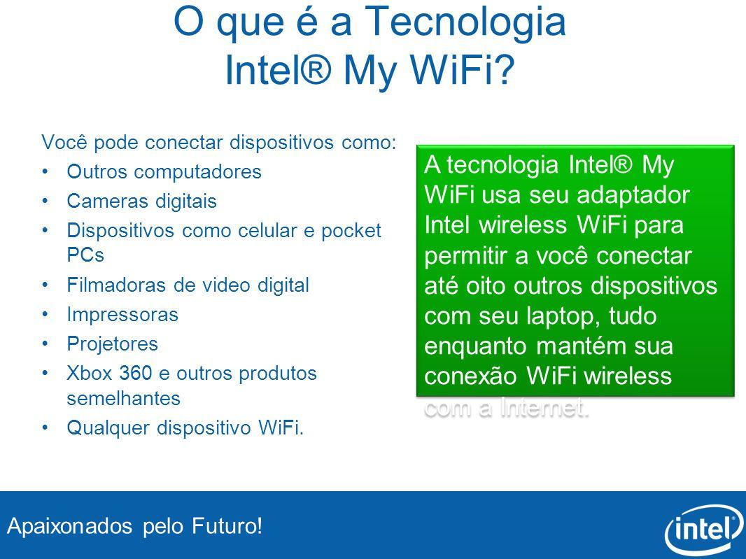 Apaixonados pelo Futuro! O que é a Tecnologia Intel® My WiFi? Você pode conectar dispositivos como: Outros computadores Cameras digitais Dispositivos