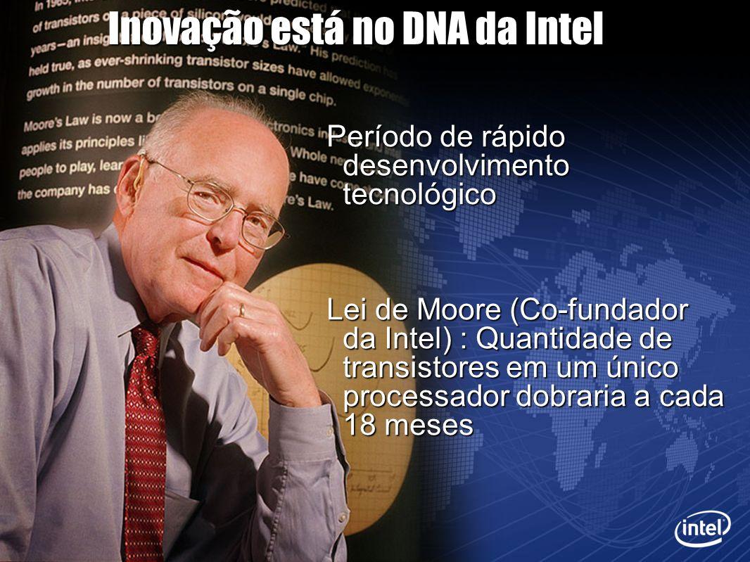 Inovação está no DNA da Intel Período de rápido desenvolvimento tecnológico Lei de Moore (Co-fundador da Intel) : Quantidade de transistores em um úni