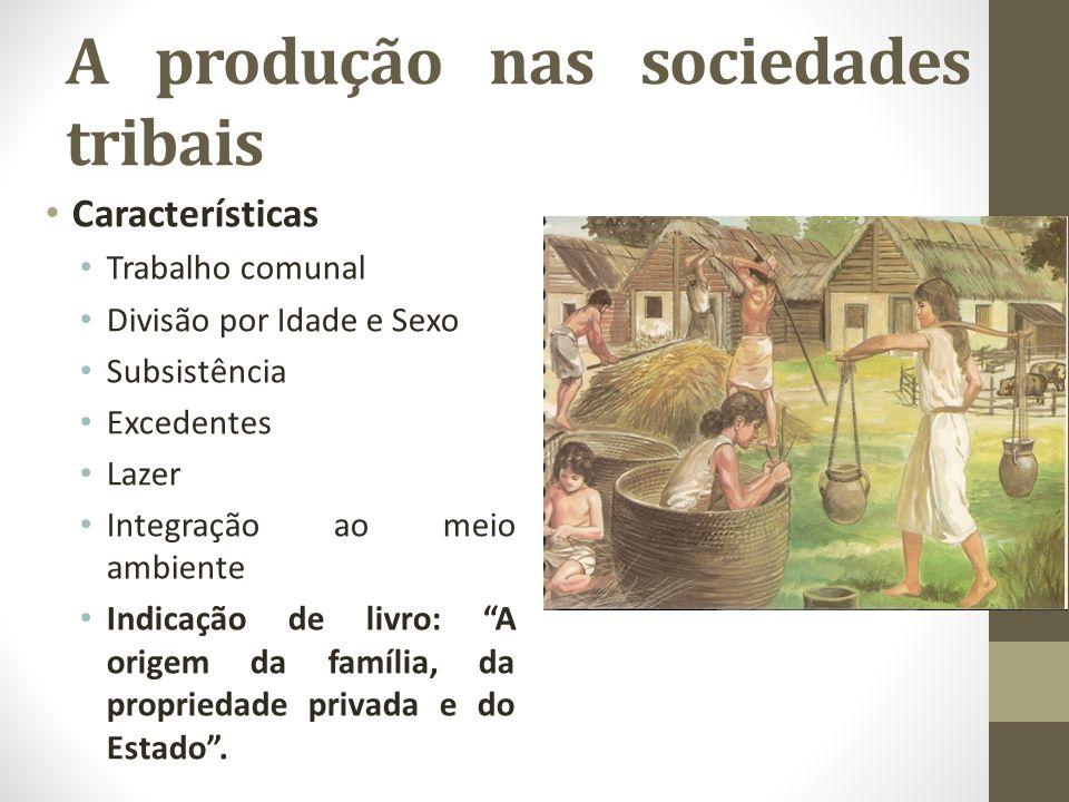 A produção nas sociedades tribais Características Trabalho comunal Divisão por Idade e Sexo Subsistência Excedentes Lazer Integração ao meio ambiente