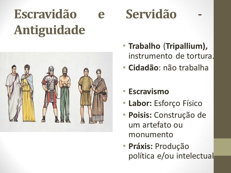 Escravidão e Servidão - Antiguidade Trabalho (Tripallium), instrumento de tortura. Cidadão: não trabalha Escravismo Labor: Esforço Físico Poisis: Cons