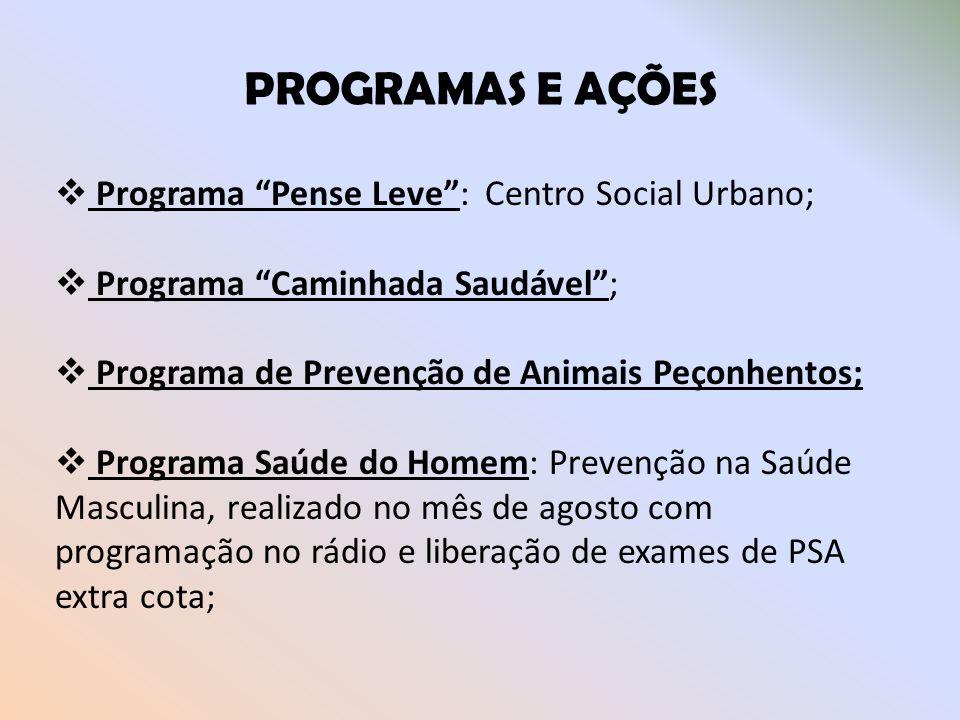 PROGRAMAS E AÇÕES Programa Pense Leve: Centro Social Urbano; Programa Caminhada Saudável; Programa de Prevenção de Animais Peçonhentos; Programa Saúde