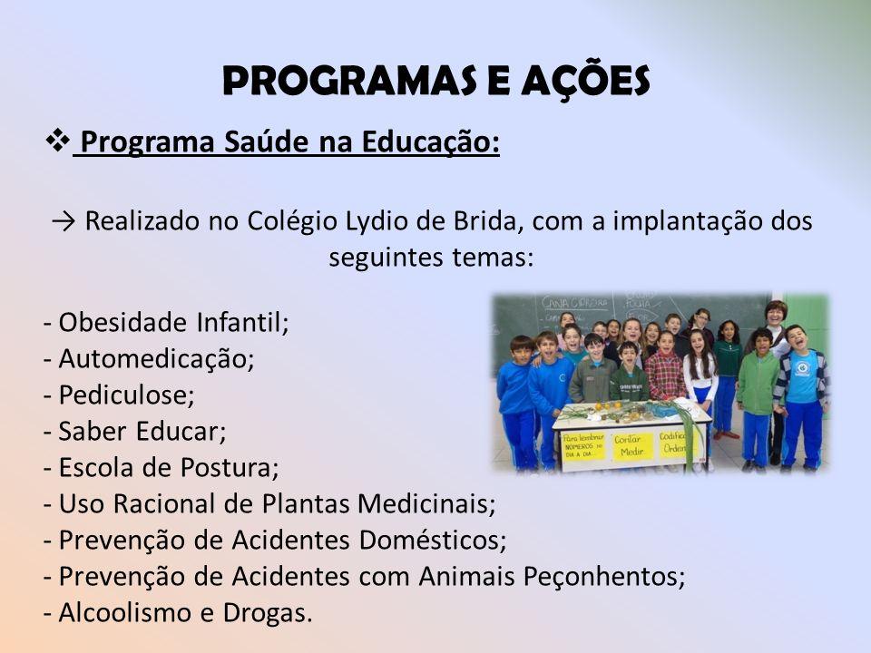 PROGRAMAS E AÇÕES Programa Saúde na Educação: Realizado no Colégio Lydio de Brida, com a implantação dos seguintes temas: - Obesidade Infantil; - Auto
