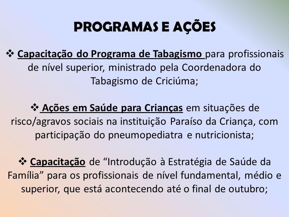 PROGRAMAS E AÇÕES Capacitação do Programa de Tabagismo para profissionais de nível superior, ministrado pela Coordenadora do Tabagismo de Criciúma; Aç