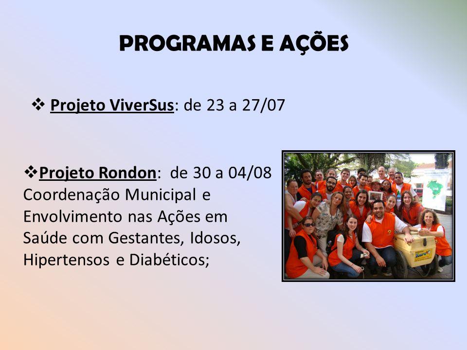 PROGRAMAS E AÇÕES Projeto ViverSus: de 23 a 27/07 Projeto Rondon: de 30 a 04/08 Coordenação Municipal e Envolvimento nas Ações em Saúde com Gestantes,