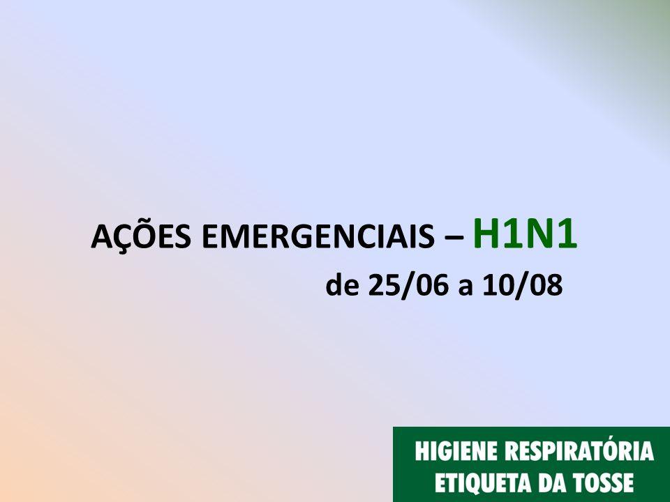 AÇÕES EMERGENCIAIS – H1N1 de 25/06 a 10/08