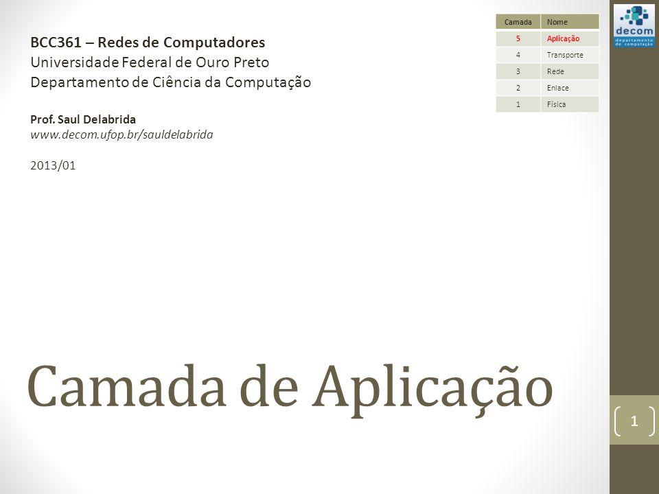 Camada de Aplicação BCC361 – Redes de Computadores Universidade Federal de Ouro Preto Departamento de Ciência da Computação Prof.