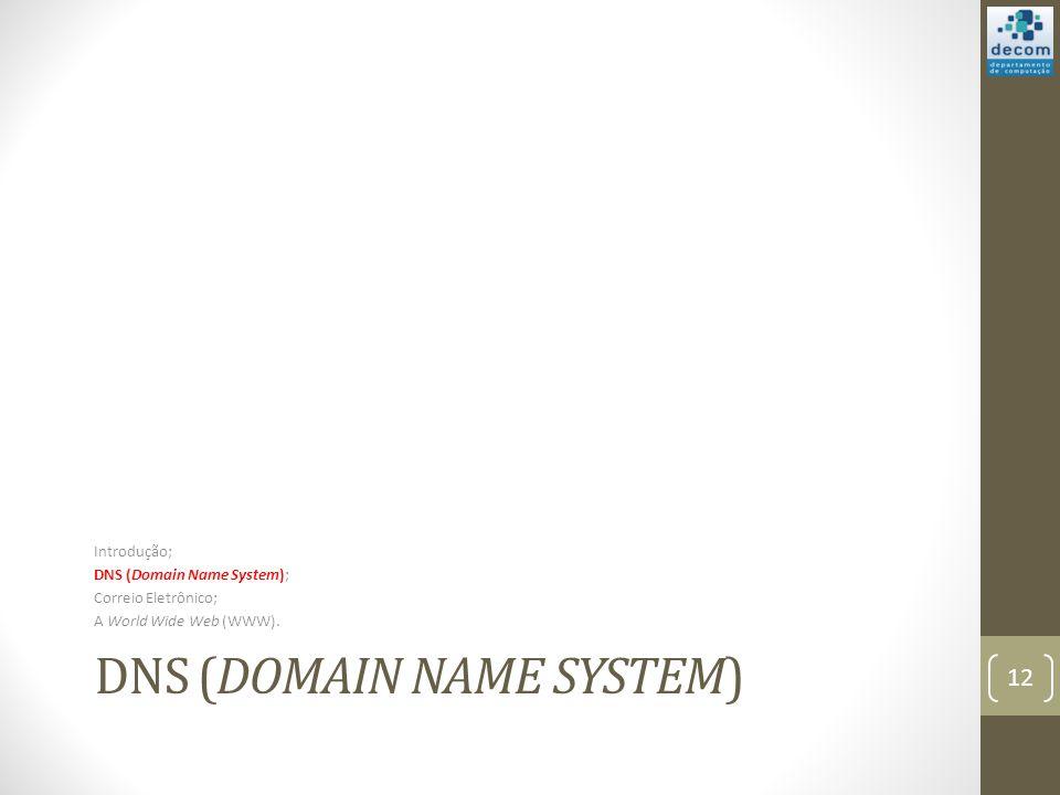 DNS (DOMAIN NAME SYSTEM) Introdução; DNS (Domain Name System); Correio Eletrônico; A World Wide Web (WWW).