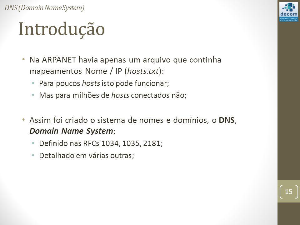 Introdução Na ARPANET havia apenas um arquivo que continha mapeamentos Nome / IP (hosts.txt): Para poucos hosts isto pode funcionar; Mas para milhões de hosts conectados não; Assim foi criado o sistema de nomes e domínios, o DNS, Domain Name System; Definido nas RFCs 1034, 1035, 2181; Detalhado em várias outras; 15 DNS (Domain Name System)