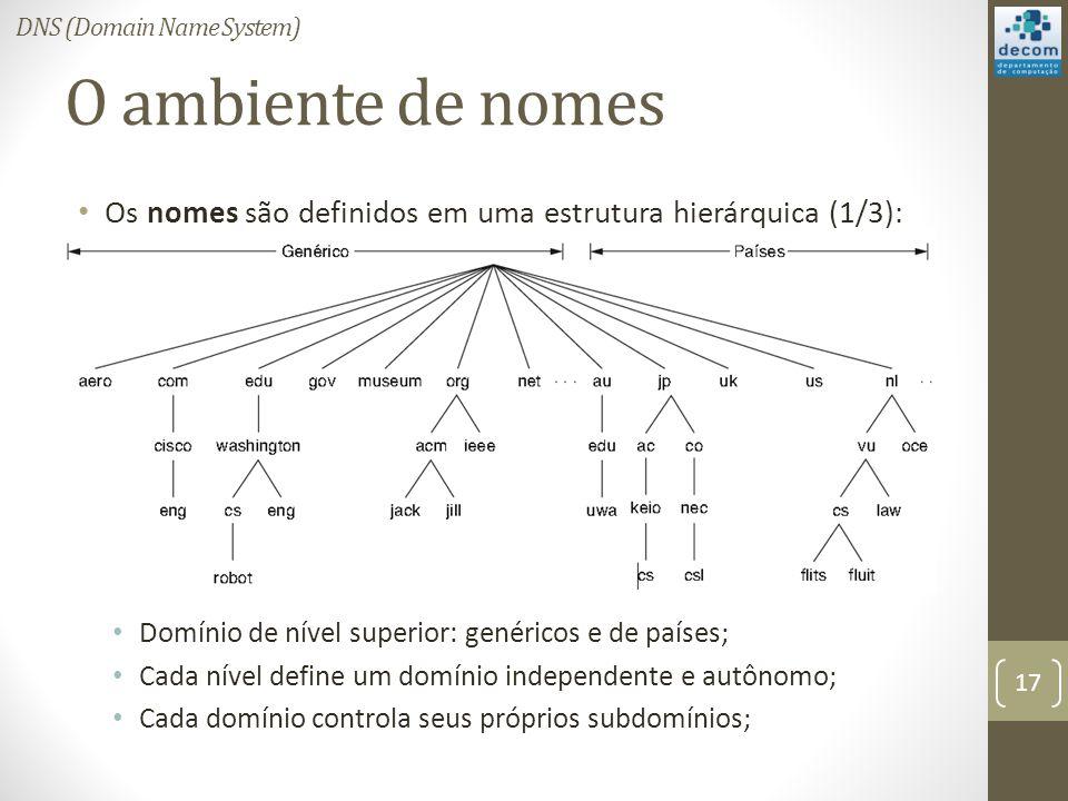 O ambiente de nomes Os nomes são definidos em uma estrutura hierárquica (1/3): Domínio de nível superior: genéricos e de países; Cada nível define um domínio independente e autônomo; Cada domínio controla seus próprios subdomínios; 17 DNS (Domain Name System)