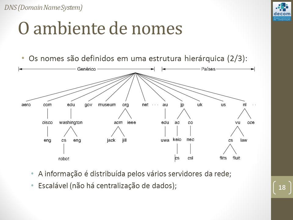 O ambiente de nomes Os nomes são definidos em uma estrutura hierárquica (2/3): A informação é distribuída pelos vários servidores da rede; Escalável (não há centralização de dados); 18 DNS (Domain Name System)