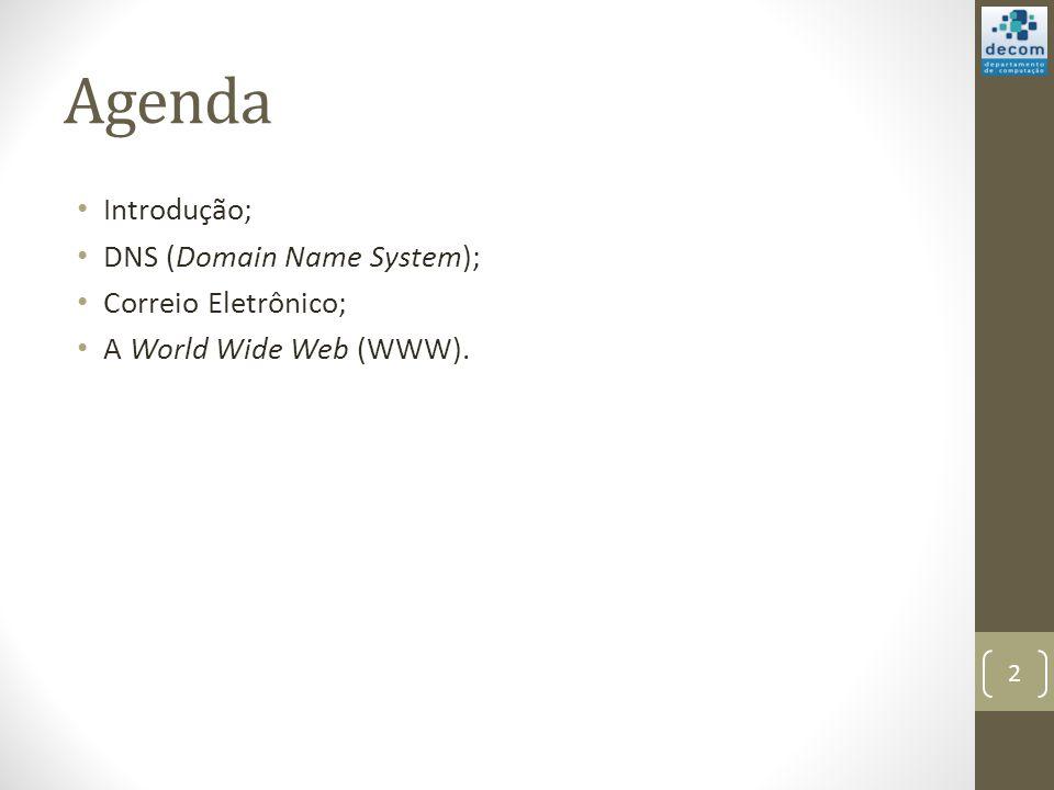 Agenda Introdução; DNS (Domain Name System); Correio Eletrônico; A World Wide Web (WWW). 2