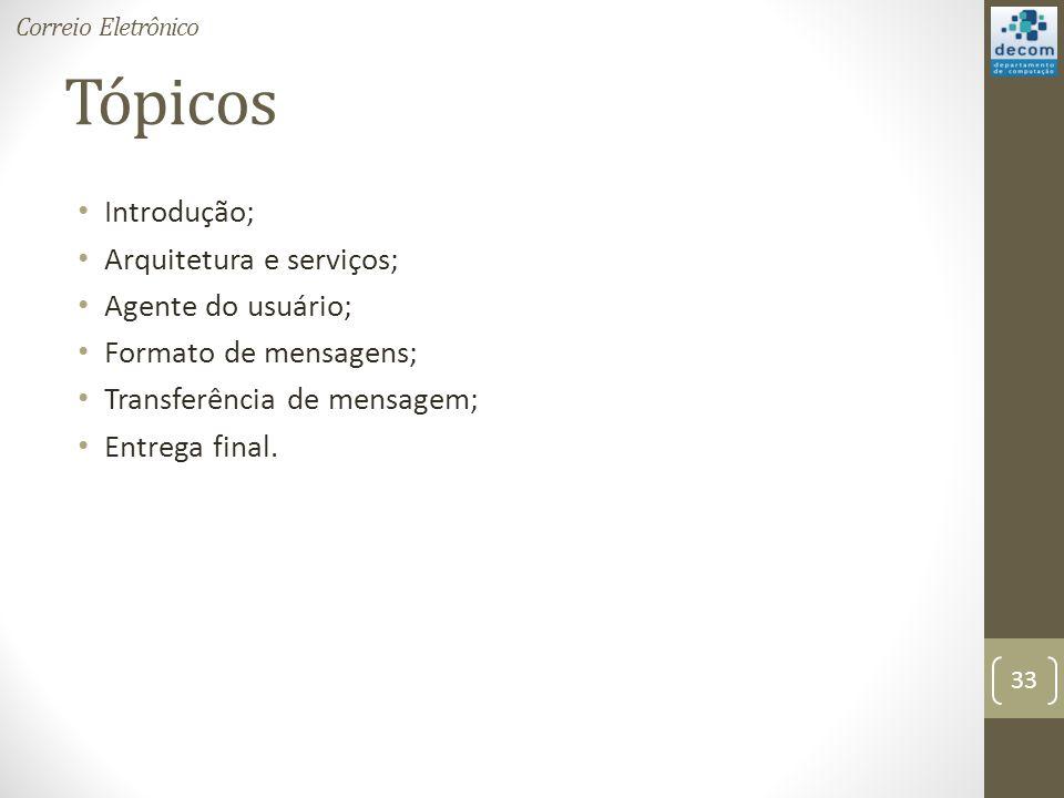 Tópicos Introdução; Arquitetura e serviços; Agente do usuário; Formato de mensagens; Transferência de mensagem; Entrega final.
