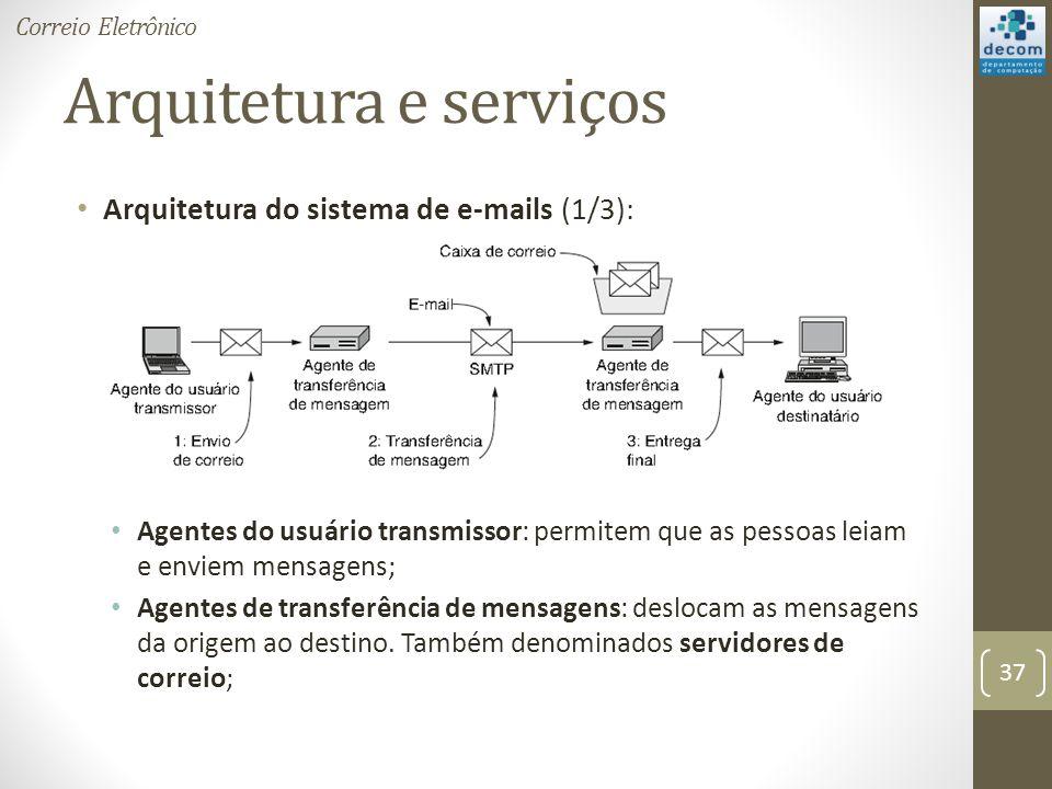 Arquitetura e serviços Arquitetura do sistema de e-mails (1/3): Agentes do usuário transmissor: permitem que as pessoas leiam e enviem mensagens; Agentes de transferência de mensagens: deslocam as mensagens da origem ao destino.