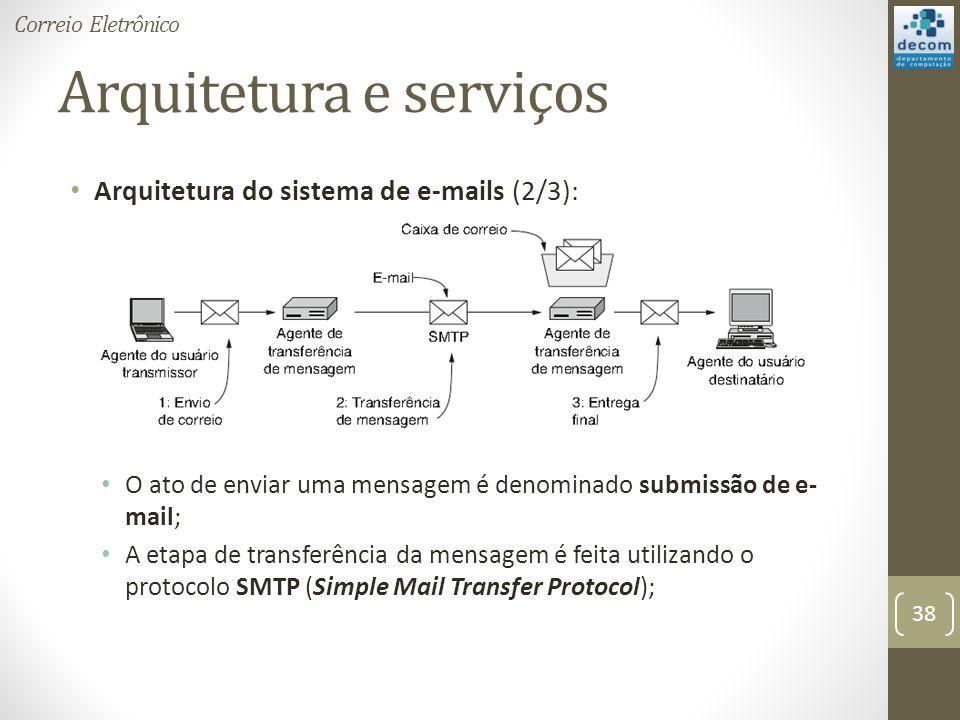Arquitetura e serviços Arquitetura do sistema de e-mails (2/3): O ato de enviar uma mensagem é denominado submissão de e- mail; A etapa de transferência da mensagem é feita utilizando o protocolo SMTP (Simple Mail Transfer Protocol); 38 Correio Eletrônico