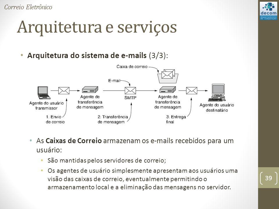 Arquitetura e serviços Arquitetura do sistema de e-mails (3/3): As Caixas de Correio armazenam os e-mails recebidos para um usuário: São mantidas pelos servidores de correio; Os agentes de usuário simplesmente apresentam aos usuários uma visão das caixas de correio, eventualmente permitindo o armazenamento local e a eliminação das mensagens no servidor.