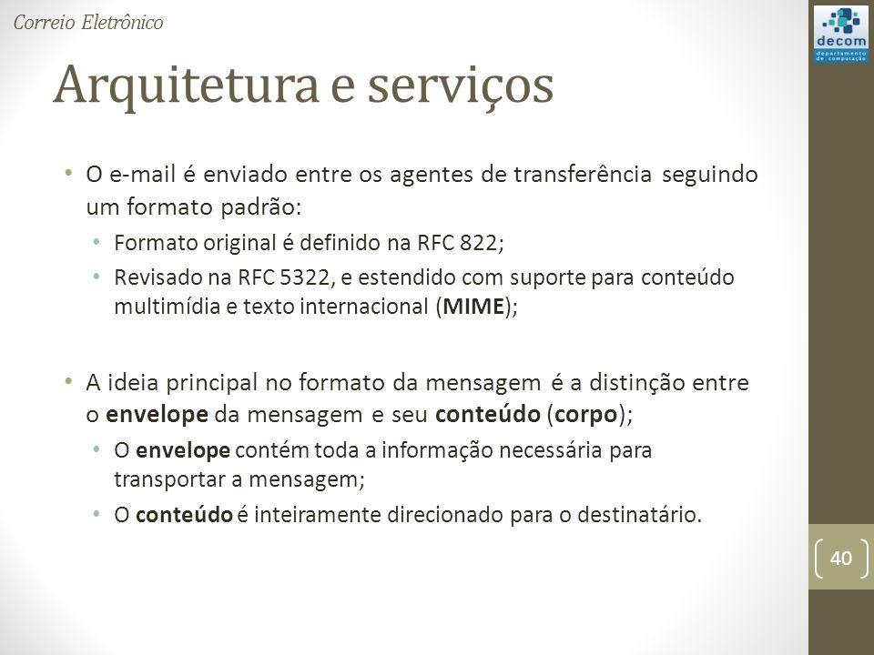 Arquitetura e serviços O e-mail é enviado entre os agentes de transferência seguindo um formato padrão: Formato original é definido na RFC 822; Revisado na RFC 5322, e estendido com suporte para conteúdo multimídia e texto internacional (MIME); A ideia principal no formato da mensagem é a distinção entre o envelope da mensagem e seu conteúdo (corpo); O envelope contém toda a informação necessária para transportar a mensagem; O conteúdo é inteiramente direcionado para o destinatário.