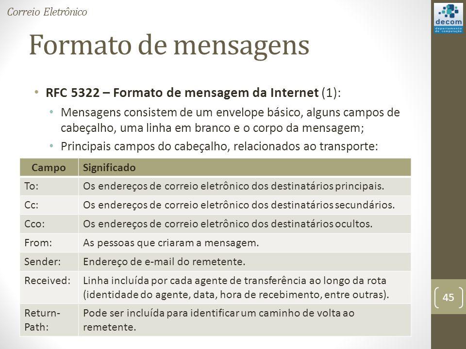 Formato de mensagens RFC 5322 – Formato de mensagem da Internet (1): Mensagens consistem de um envelope básico, alguns campos de cabeçalho, uma linha em branco e o corpo da mensagem; Principais campos do cabeçalho, relacionados ao transporte: 45 Correio Eletrônico CampoSignificado To:Os endereços de correio eletrônico dos destinatários principais.