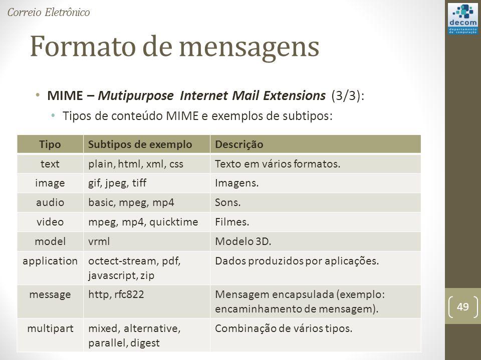 Formato de mensagens MIME – Mutipurpose Internet Mail Extensions (3/3): Tipos de conteúdo MIME e exemplos de subtipos: 49 Correio Eletrônico TipoSubtipos de exemploDescrição textplain, html, xml, cssTexto em vários formatos.
