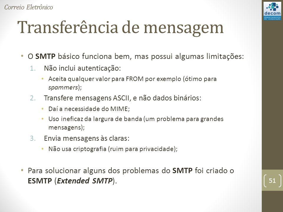 Transferência de mensagem O SMTP básico funciona bem, mas possui algumas limitações: 1.Não inclui autenticação: Aceita qualquer valor para FROM por exemplo (ótimo para spammers); 2.Transfere mensagens ASCII, e não dados binários: Daí a necessidade do MIME; Uso ineficaz da largura de banda (um problema para grandes mensagens); 3.Envia mensagens às claras: Não usa criptografia (ruim para privacidade); Para solucionar alguns dos problemas do SMTP foi criado o ESMTP (Extended SMTP).