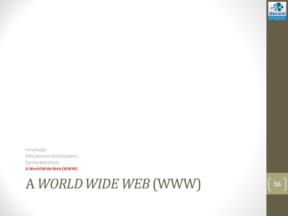 A WORLD WIDE WEB (WWW) Introdução; DNS (Domain Name System); Correio Eletrônico; A World Wide Web (WWW).
