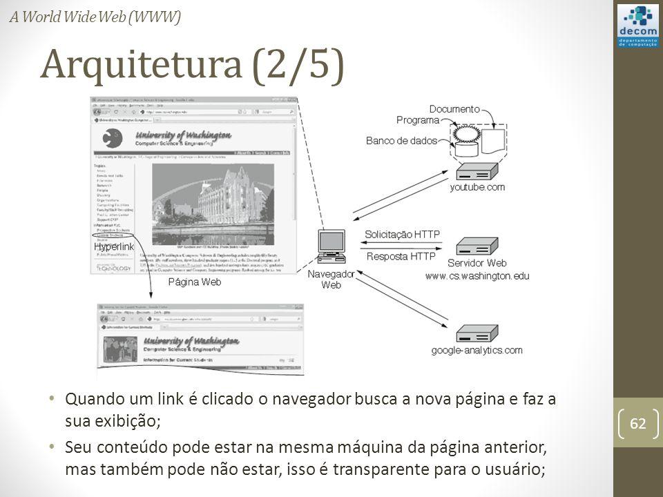 Arquitetura (2/5) Quando um link é clicado o navegador busca a nova página e faz a sua exibição; Seu conteúdo pode estar na mesma máquina da página anterior, mas também pode não estar, isso é transparente para o usuário; 62 A World Wide Web (WWW)