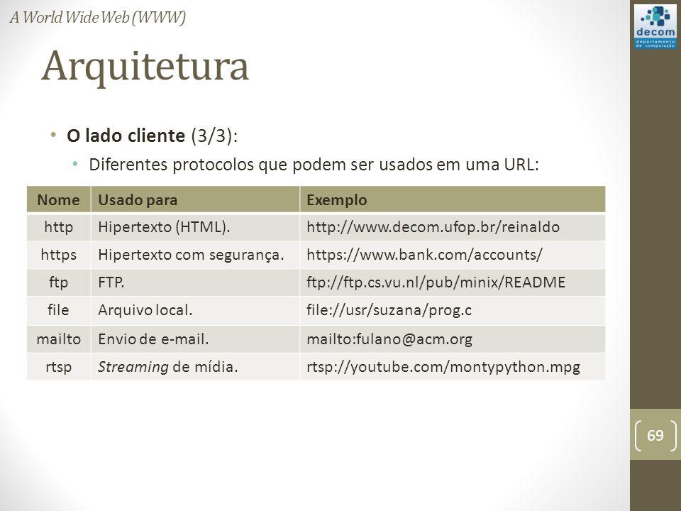 Arquitetura O lado cliente (3/3): Diferentes protocolos que podem ser usados em uma URL: 69 A World Wide Web (WWW) NomeUsado paraExemplo httpHipertexto (HTML).http://www.decom.ufop.br/reinaldo httpsHipertexto com segurança.https://www.bank.com/accounts/ ftpFTP.ftp://ftp.cs.vu.nl/pub/minix/README fileArquivo local.file://usr/suzana/prog.c mailtoEnvio de e-mail.mailto:fulano@acm.org rtspStreaming de mídia.rtsp://youtube.com/montypython.mpg