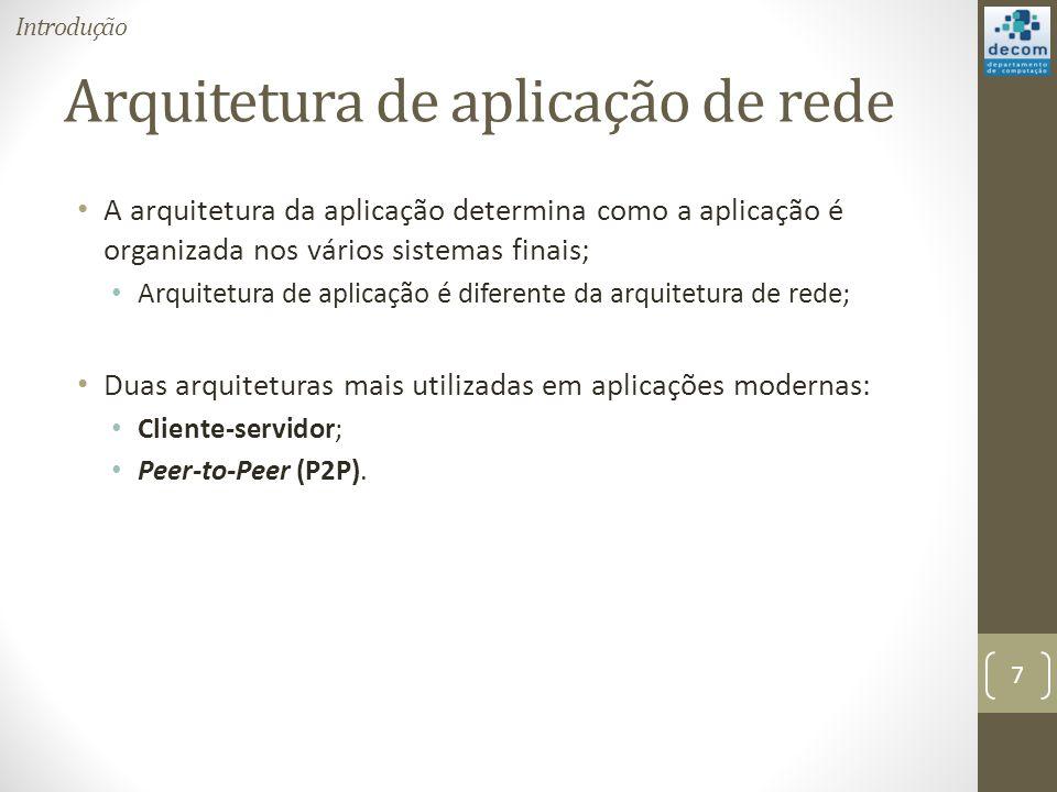 Arquitetura de aplicação de rede A arquitetura da aplicação determina como a aplicação é organizada nos vários sistemas finais; Arquitetura de aplicação é diferente da arquitetura de rede; Duas arquiteturas mais utilizadas em aplicações modernas: Cliente-servidor; Peer-to-Peer (P2P).